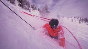 find---me! Lawinenband, Tiefschneeband (Avalanche- and Powder leash) besteht aus 2 Taschen mit je 10 m knallroten Bändern, 2 Kordeln. Mit find---me! nie wieder Ski im Tiefschnee verlieren