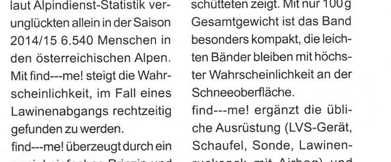 """Ein Artikel in der Zeitschrift """"Extradienst"""" über das neue Lawinen und Tiefschneeband find---me!"""