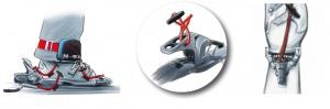 3 Möglichkeiten: die find---me Kordel am Vorderbacken, Hinterbacken oder am Skistopper befestigen.