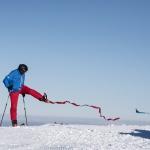 Lawine: blau ist Ski, rot ist der Mensch