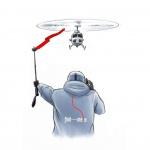 Helikopter einweisen mit find---me, zeigt Pilot Windrichtung und Standort