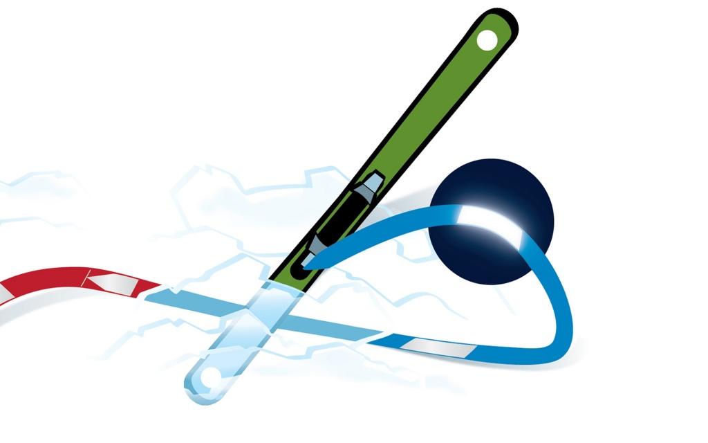 find---me blaue Bänder am Ski, rote am Menschen