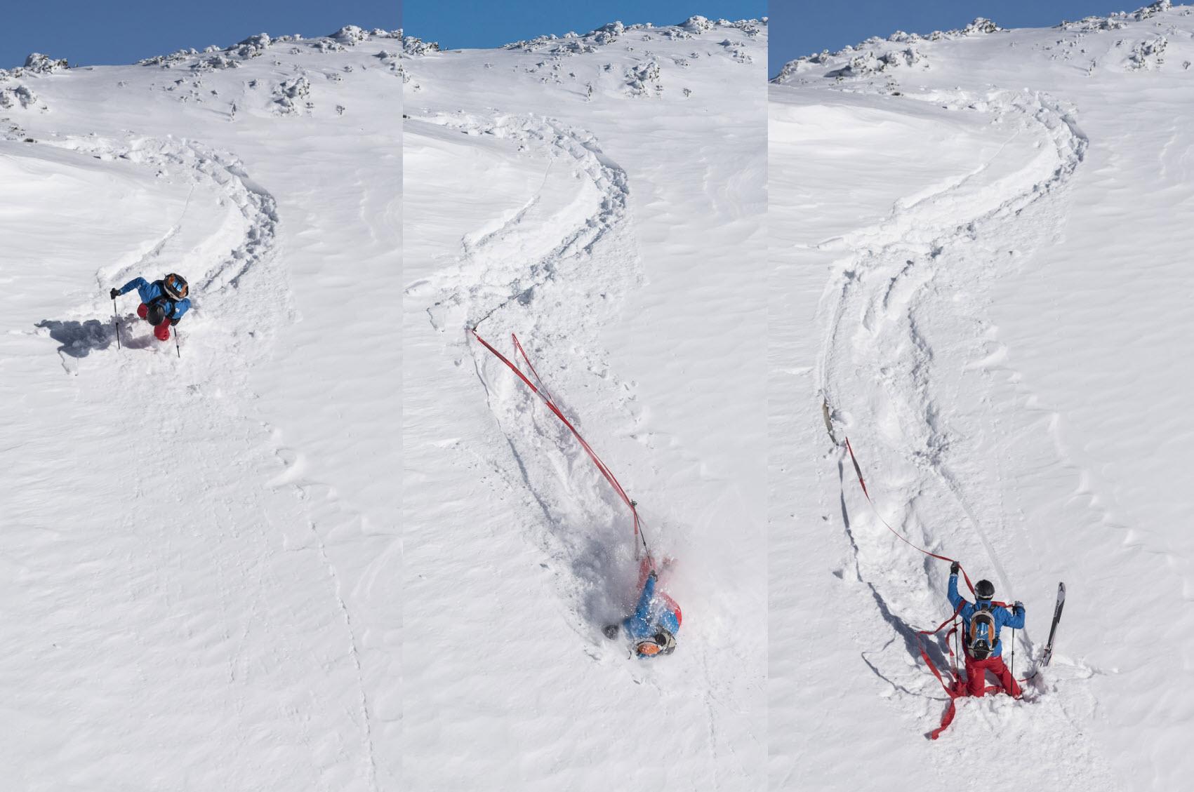Wenn die Bindung aufgeht zieht der Ski die find---me Tiefschneebänder aus den kleinen Taschen am Fuß. Ski kann man meist einfach runterziehen.